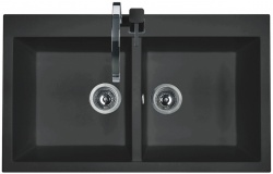 Sinks Sinks AMANDA 860 DUO Metalblack + Sinks MIX 350 P lesklá
